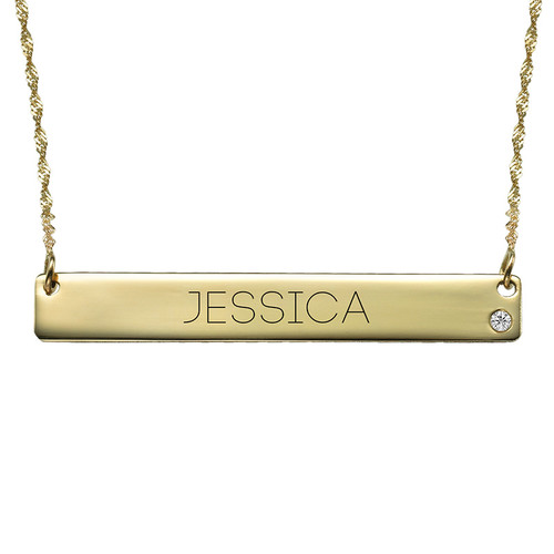14K Gold Bar Necklace with Diamond & Engraving