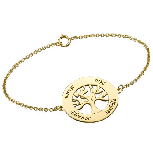 14k Gold Family Tree Bracelet With Engraving