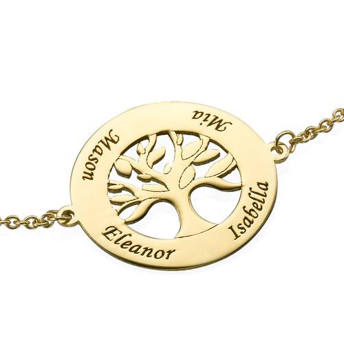 14K Gold Family Tree Bracelet with Engraving - 1