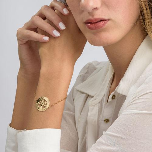 14K Gold Family Tree Bracelet with Engraving - 2