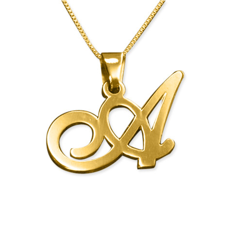 14K Gold Initial Necklace with Your Choice of Letter
