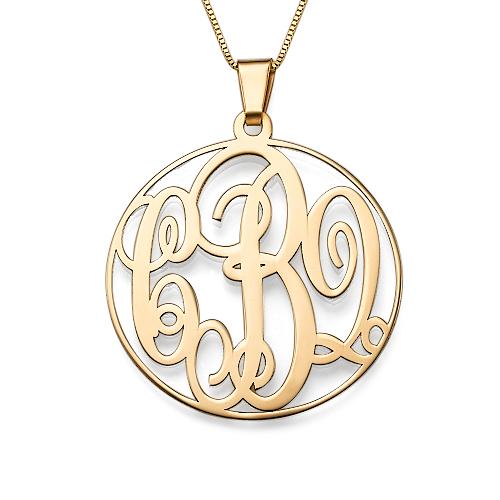 14K Solid Gold Monogram Necklace