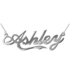 14k White Gold Coca Cola Style Name Necklace
