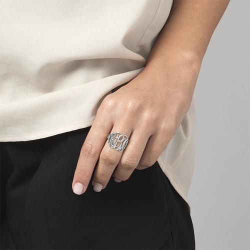 14K White Gold Monogram Ring - 1