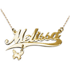 14k Name Necklace Gold with Charm