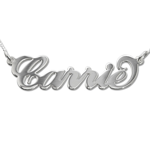 """14k White Gold """"Carrie"""" Style Name Necklace"""