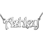 14k White Gold Name Necklace with Box Chain