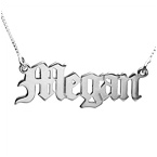 14k White Gold Old English Personalized Necklace