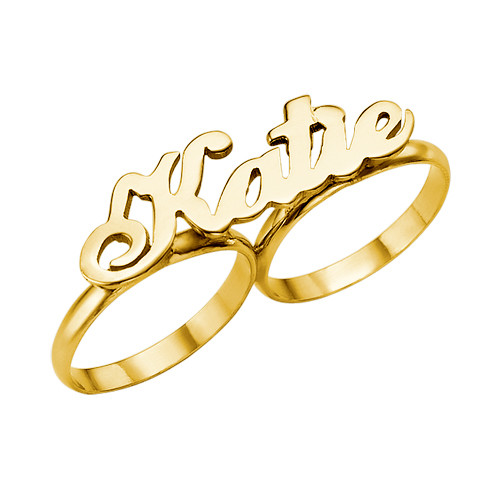 14k Gold Two Finger Name Ring