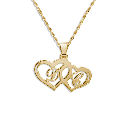 14k Gold Couples Hearts Pendant