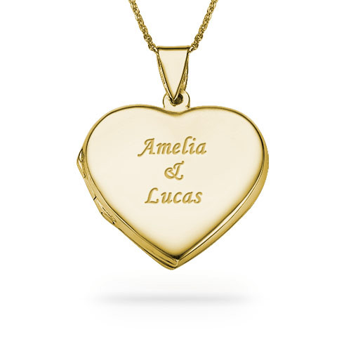 18k Gold plated Engraved Heart Locket Necklace