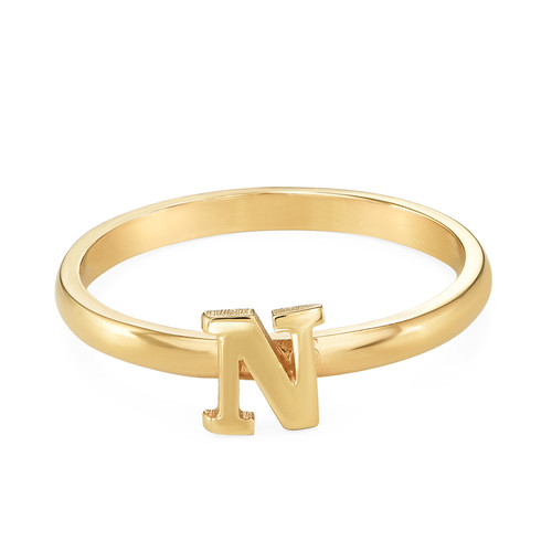 18K Gold Plated Initial Stacking Ring - 1