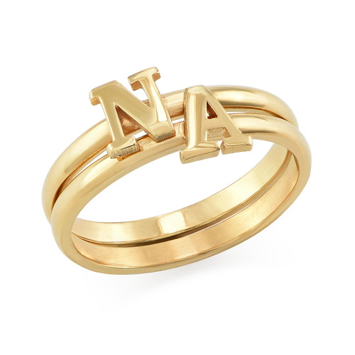 18K Gold Plated Initial Stacking Ring - 2
