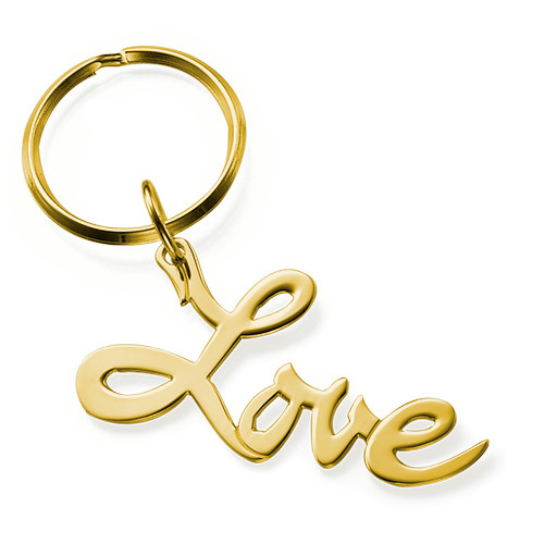"""18K Gold Plated """"Love"""" Keychain"""