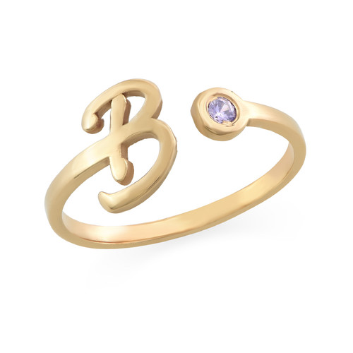 18K Gold Plated Open Initial Birthstone Ring