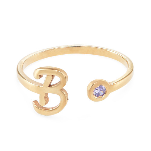 18K Gold Plated Open Initial Birthstone Ring - 1