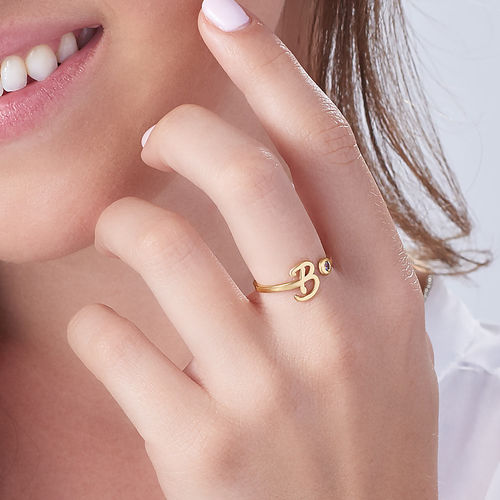 18K Gold Plated Open Initial Birthstone Ring - 3