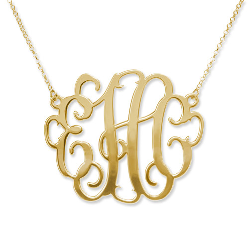 Gold Plated XXL Statement Monogram Necklace
