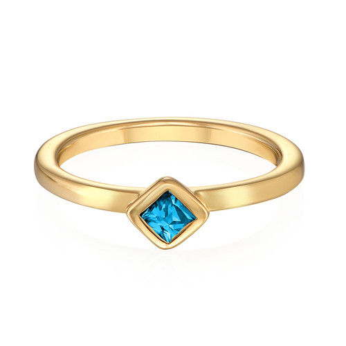 18K Gold Plated Stackable Blue Lagoon Rhombus Ring - 1