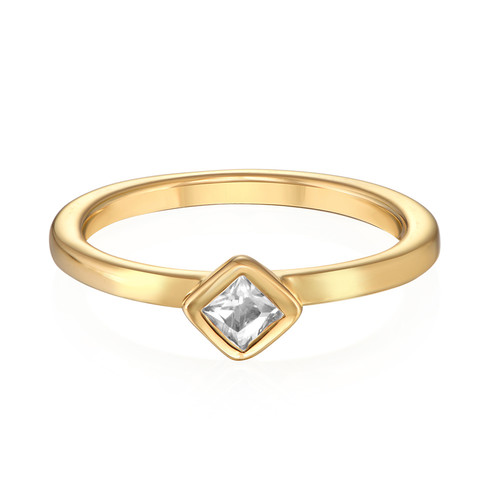 18K Gold Plated Stackable Crystal Clear Rhombus Ring - 1