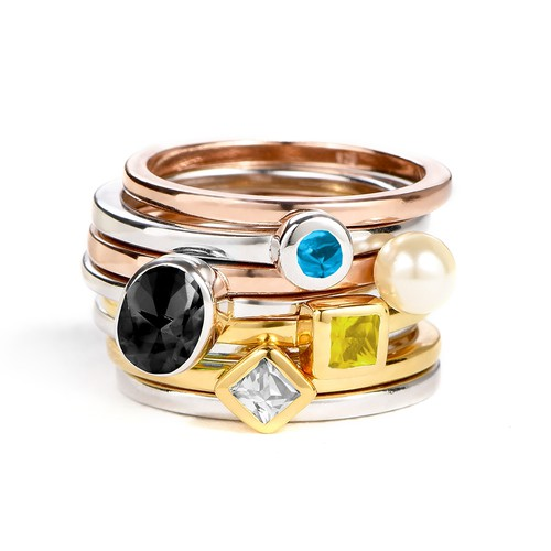 18K Gold Plated Stackable Crystal Clear Rhombus Ring - 2
