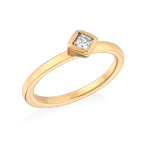 18K Gold Plated Stackable Crystal Clear Rhombus Ring