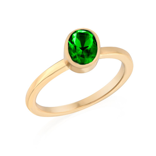 18K Gold Plated Stackable Emerald Green Oval Ring