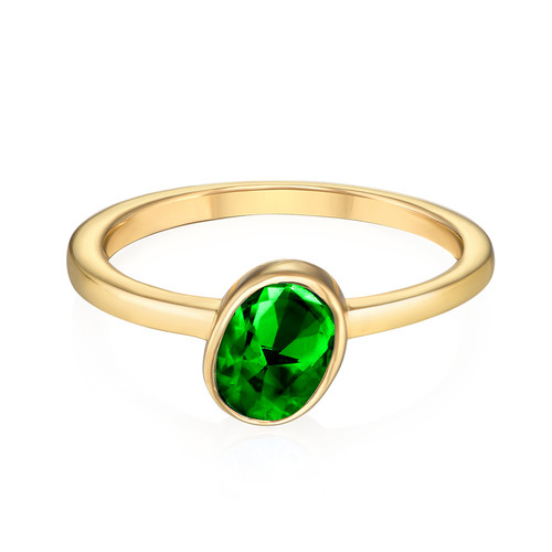 18K Gold Plated Stackable Emerald Green Oval Ring - 1