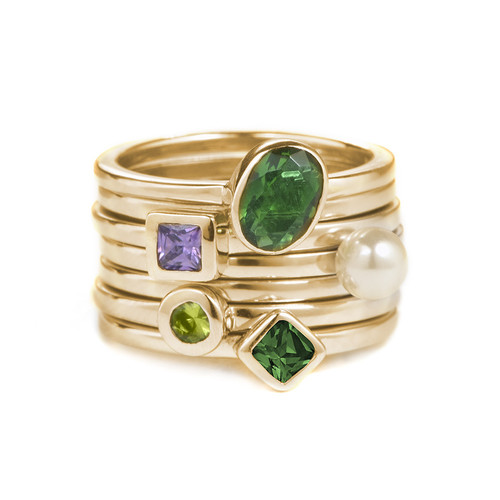 18K Gold Plated Stackable Emerald Green Oval Ring - 2