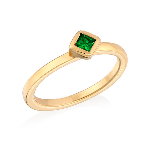 18K Gold Plated Stackable Emerald Green Rhombus Ring