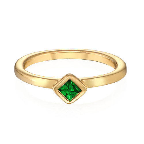 18K Gold Plated Stackable Emerald Green Rhombus Ring - 1