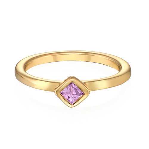 18K Gold Plated Stackable Misty Rose Rhombus Ring - 1