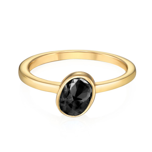 18K Gold Plated Stackable Oval Shock Black Ring - 1