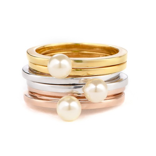 18K Gold Plated Stackable Pearl Ring - 2