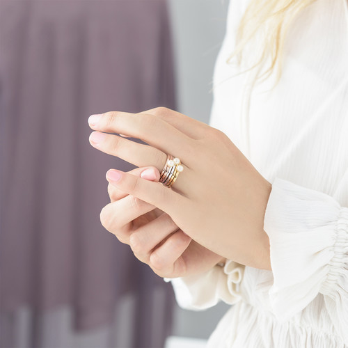 18K Gold Plated Stackable Pearl Ring - 3