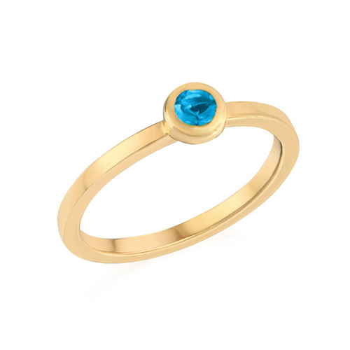 18K Gold Plated Stackable Round Blue Lagoon Ring