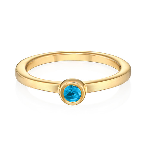 18K Gold Plated Stackable Round Blue Lagoon Ring - 1