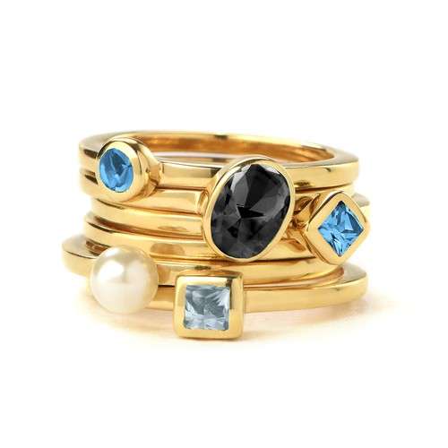 18K Gold Plated Stackable Round Blue Lagoon Ring - 2
