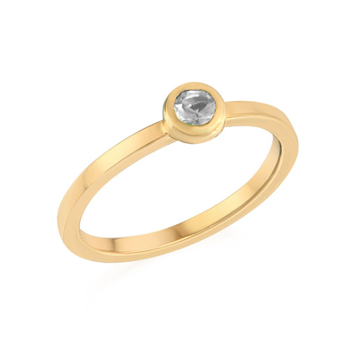 18K Gold Plated Stackable Round Crystal Clear Ring