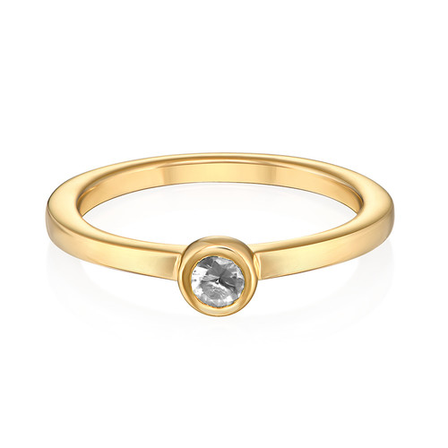 18K Gold Plated Stackable Round Crystal Clear Ring - 1