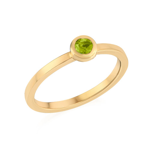 18K Gold Plated Stackable Round Limelicious Green Ring