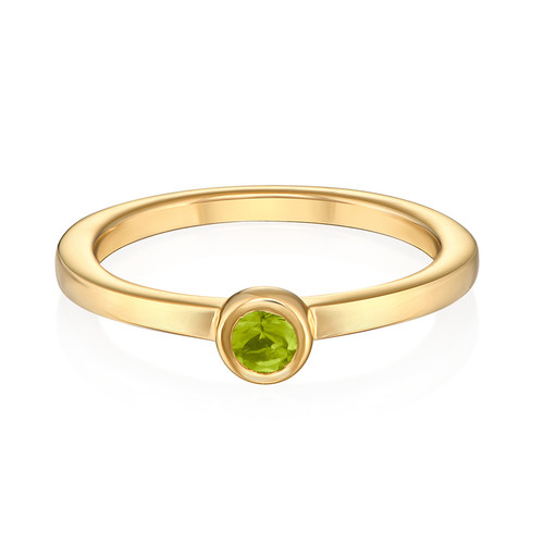 18K Gold Plated Stackable Round Limelicious Green Ring - 1