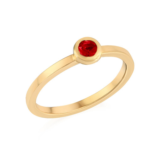18K Gold Plated Stackable Round Ruby Red Ring