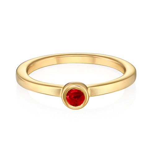 18K Gold Plated Stackable Round Ruby Red Ring - 1
