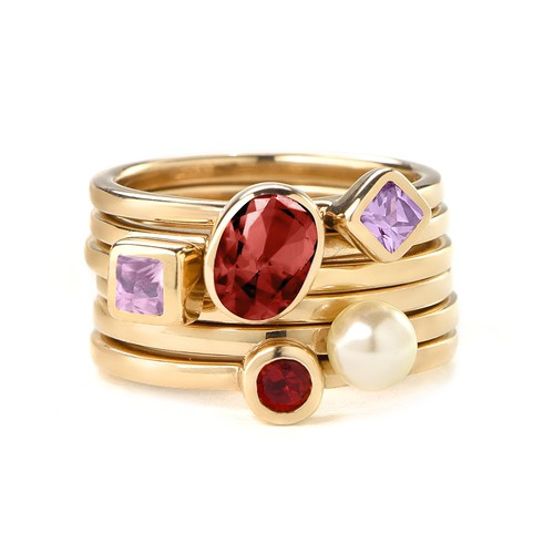 18K Gold Plated Stackable Round Ruby Red Ring - 2