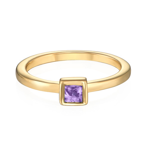 18K Gold Plated Stackable Square Lavender Scents Ring - 1