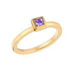 18K Gold Plated Stackable Square Lavender Scents Ring