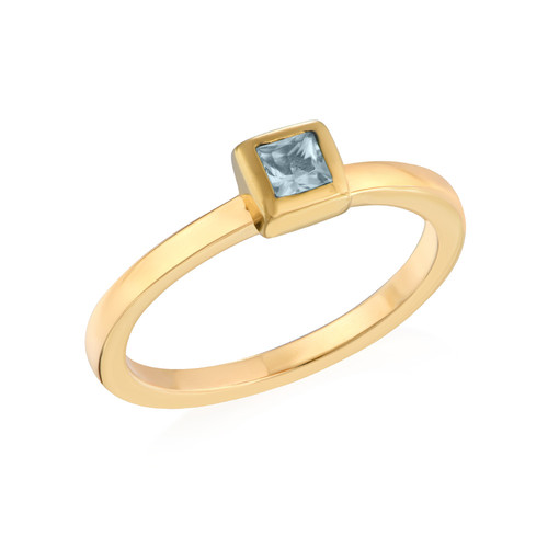 18K Gold Plated Stackable Square Sky Blue Ring
