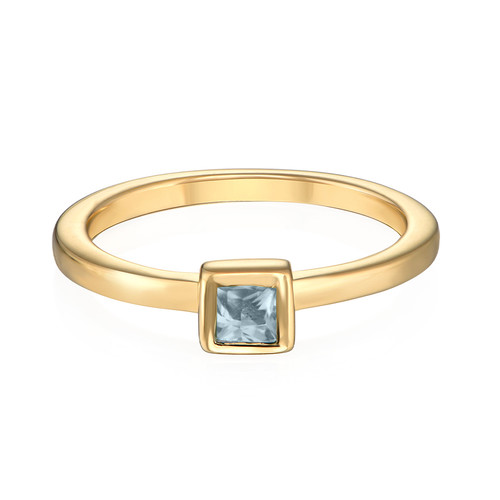 18K Gold Plated Stackable Square Sky Blue Ring - 1