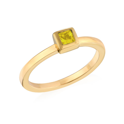 18K Gold Plated Stackable Square Sunshine Yellow Ring